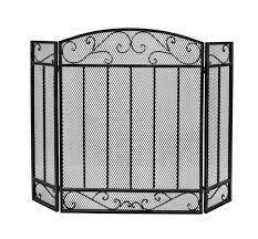 black silver fireplace screen