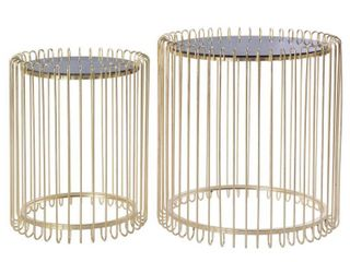 Set of 2 Modern Round Gold Metal End Table Set with Smoked Glass Top  Retail 234 99