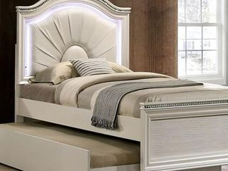 Allie Collection CM7901T BED Twin Size Padded leatherette Headboard only lED light in Pearl White