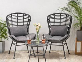 la Habra Outdoor Modern Boho Wicker chairs only set of 2 by Christopher Knight Home gray