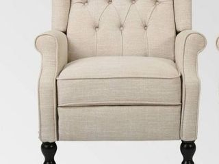 Walter Contemporary Tufted Fabric Recliner 1 only by Christopher Knight Home light beige