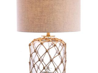 Mer 26 5  Glass and Rope lED Table lamp  Brown Clear