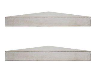 American Art Decor Wood Floating Corner Shelves  Set of 2