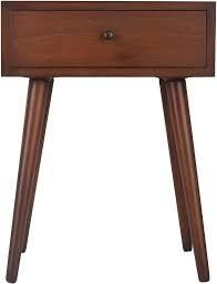 Mid Century Modern Wood One Drawer Side Table w  Shelf  Retail 121 49 Heather ann creations mahogany finish
