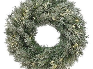 Null 24 inch snowy stonington fir wreath battery operated led lights