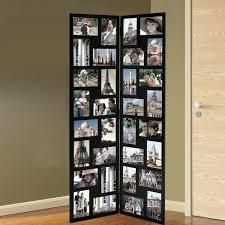 Adeco Black Wood Hinged Folding Screen Style Collage Picture Photo Frame with 32 Openings