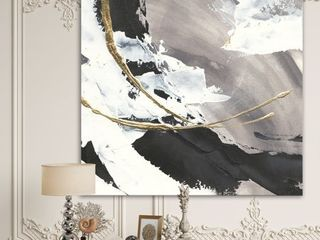 Designart  Glam Printed Arcs II  Transitional Printed Gallery wrapped Canvas   Black  Retail 85 49