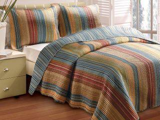 Greenland Home Fashions Katy Boho Stripe 100  Cotton Quilt and Pillow Sham Set