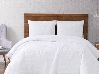 King 3pc Carlisle Stripe Clipped Jacquard Comforter Set White   Brooklyn loom