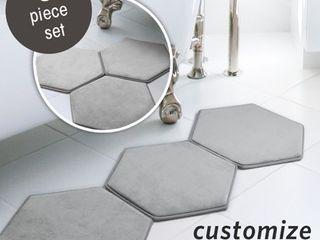 MICRODRY Memory Foam HD Modular Bath Mats 3 Piece Set with GripTex Skid Resistant Base  19x17  Grey