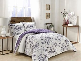 3pc Queen Jasmeen Reversible Comforter Set Purple   Marble Hill