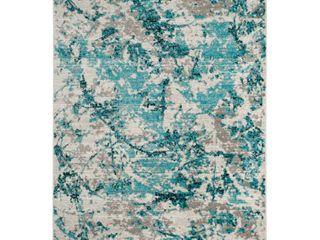 Blue Ivory Fleck loomed Area Rug 5 1 X7 6    Safavieh