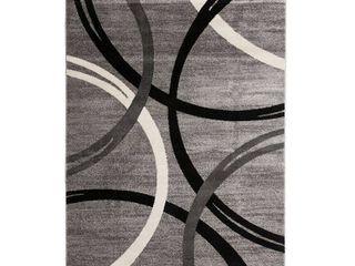 Modern Abstract Circles Design Area Rug 5  3  x 7  3  Gray