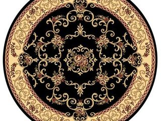 Rugs America New Vision Collection Souvanerie Black 207 BlK Traditional Floral Area Rug 5 3  Round