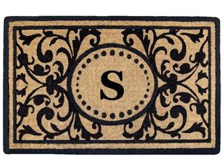 S   Black  Black Heavy duty Coir Monogrammed Heritage Doormat   22 inches x 36 inches
