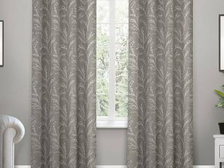 Set of 2 96 x52  Kilberry Woven Blackout Grommet Top Window Curtain Panel Ash Gray   Exclusive Home