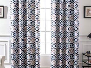DriftAway Diamond Trellis Watercolor Geometric Checker Plaid Pattern Room Darkening Thermal Insulated Grommet Window Curtains Set 2 Panels 52 Inch by 96 Inch Header Navy