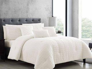 King 6pc Kasuga Comforter Set White   Riverbrook Home