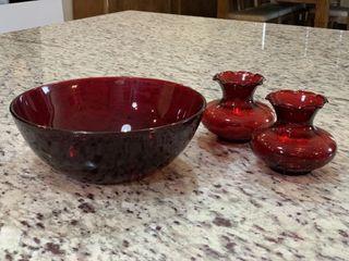 Ruby Red Glass Bowl   Bud Vases
