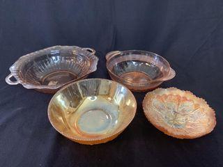 4   Vaseline Glass Bowls