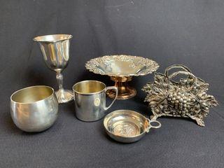 Silver Goblet  Bowl  Napkin Holder  etc