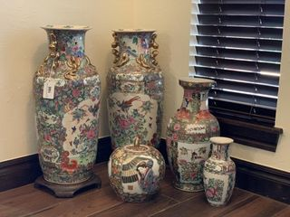 5   large Chinoiserie Vases