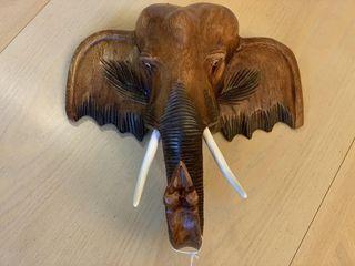 Wooden Elephant Head