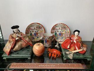 2 Oriental Dolls  2 Plates   Cup