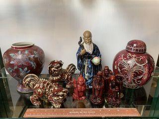Oriental Foo Dog Figurines  Painted Vases  and