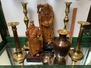 Carved Monk Figurines  Brass Candlesticks   Vase