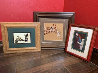 3   Framed and Matted Animal Prints