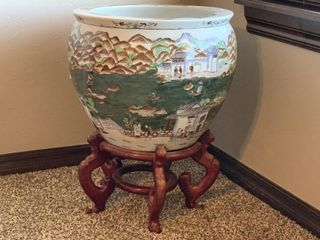Chinese Export Chinoiserie Planter on Stand