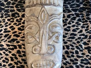 Wooden Tribal Mask with Hair