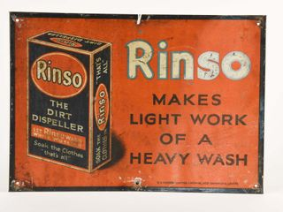 1929 RINSO  lIGHT WORK OF HEAVY WASH  SST SIGN