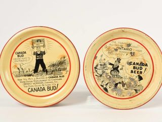 lOT 2 CANADA BUD WORKERS PAINTED METAl TIP TRAYS