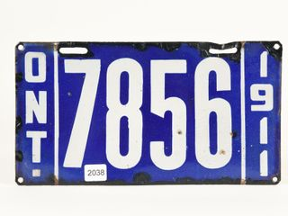 1911 ONTARIO PORCElAIN lICENSE PlATE
