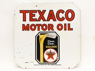TEXACO MOTOR OIl ClEAN ClEAR GOlDEN DSP SIGN