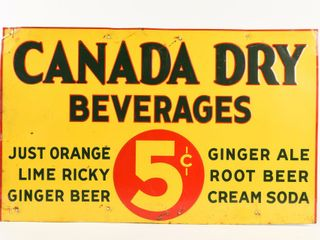 CANADA DRY BEVERAGES 5 CENT SST ADVERTISING SIGN