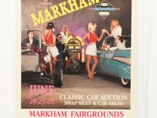 MARKHAM  94  ClASSIC CAR AUCTION CARDBOARD POSTER