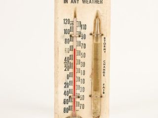 BIG OVERAllS IN ANY WEATHER WOOD THERMOMETER