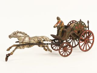 CAST IRON HORSE DRAWN FIRE REEl WAGON PUll TOY