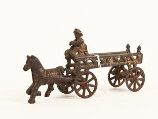 VINTAGE CAST IRON HORSE DRAWN lADDER TRUCK