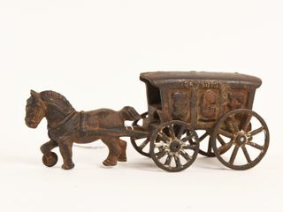 CANADIAN CAST IRON HORSE DRAWN ICE WAGON