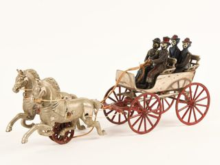 ANTIQUE NICKlE PlATED HORSE DRAWN CARRIAGE