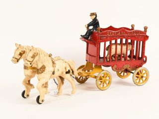 OVERlAND CIRCUS CAST IRON HORSE DRAWN WAGON