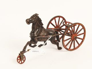 ANTIQUE CAST IRON SUlKY HORSE PUll TOY