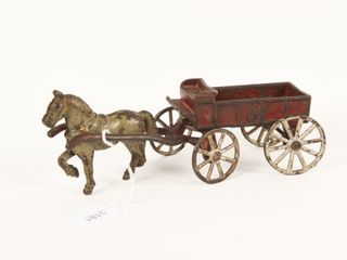 CANADIAN BEAVERTON CAST IRON HORSE DRAWN BUCKBOARD
