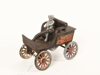 VINTAGE HORSElESS CAST IRON CARRIAGE