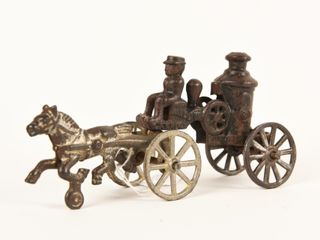 CANADIAN CAST IRON HORSE DRAWN FIRE WAGON
