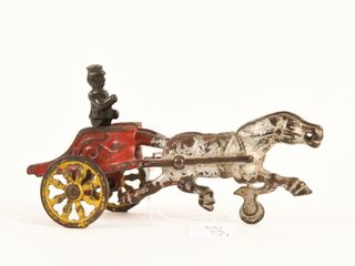 VINTAGE CAST IRON HORSE DRAWN CHARIOT